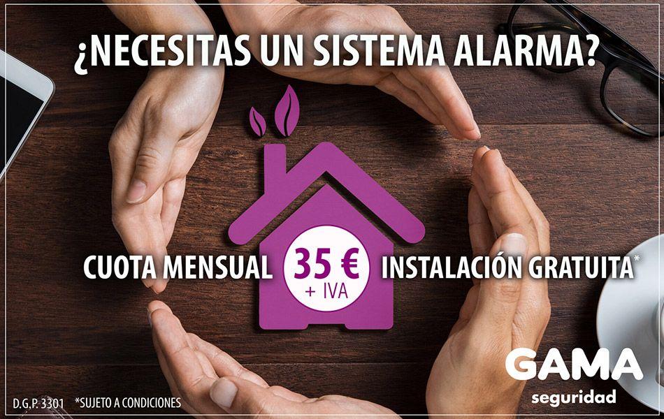 Promoción de un sistema de alarmas con todos los servicios incluidos en una cuota mensual de 35 euros e instalación gratuita